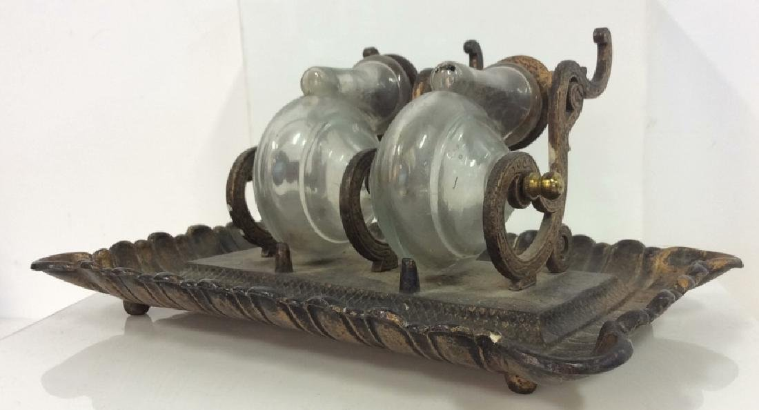 Antique Victorian 19th C Inkwell Set, with Tilter