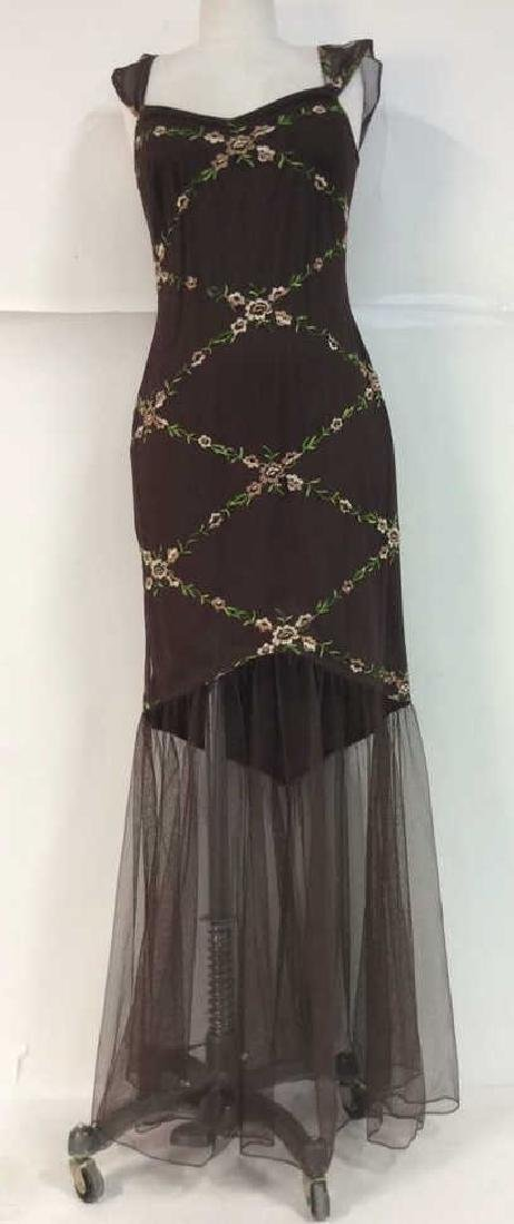 JS COLLECTIONS Sheer Embroidered Dress
