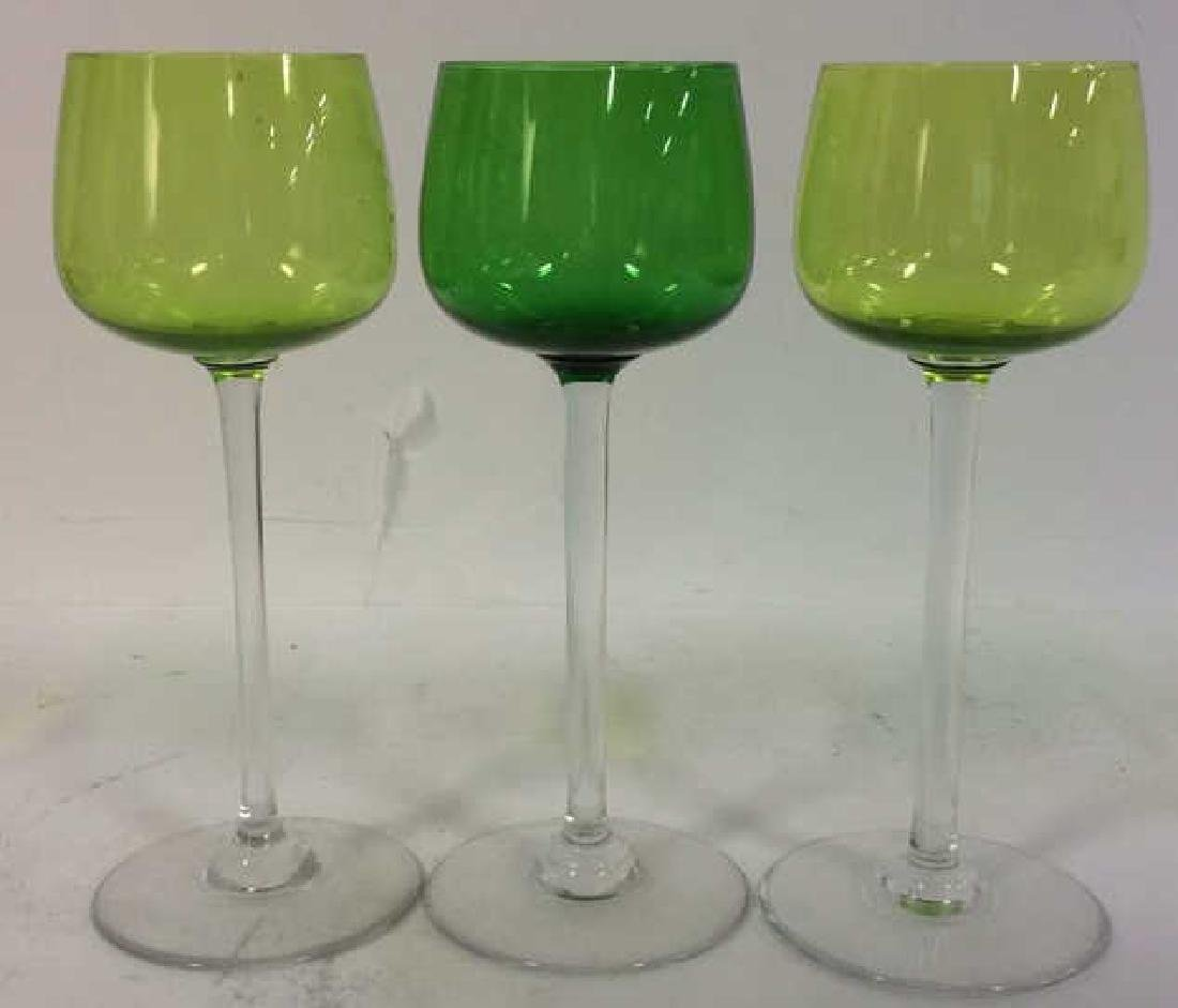 Lot 3 Green Toned BACCARAT Crystal Glasses