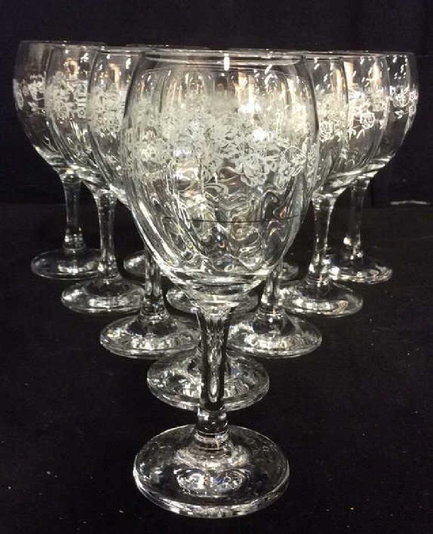 Lot 11 Floral Detailed Glass Crystal Wine Glasses