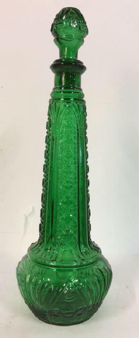 Green Toned Art Glass Decanter W Stopper