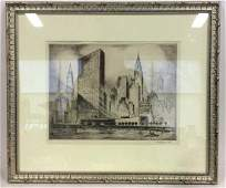 Signed Nat Lowell Cityscape Etching C 1950