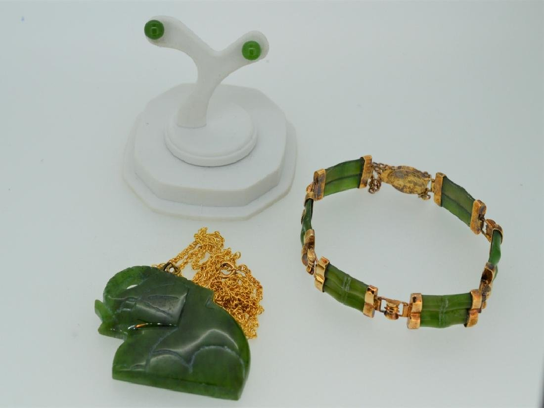 "20"" Jade Elephant Necklace Combination"