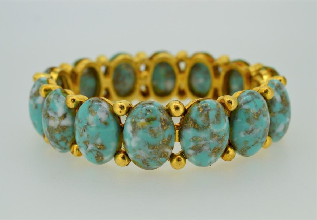 Turquoise & Gold Plated Cuff