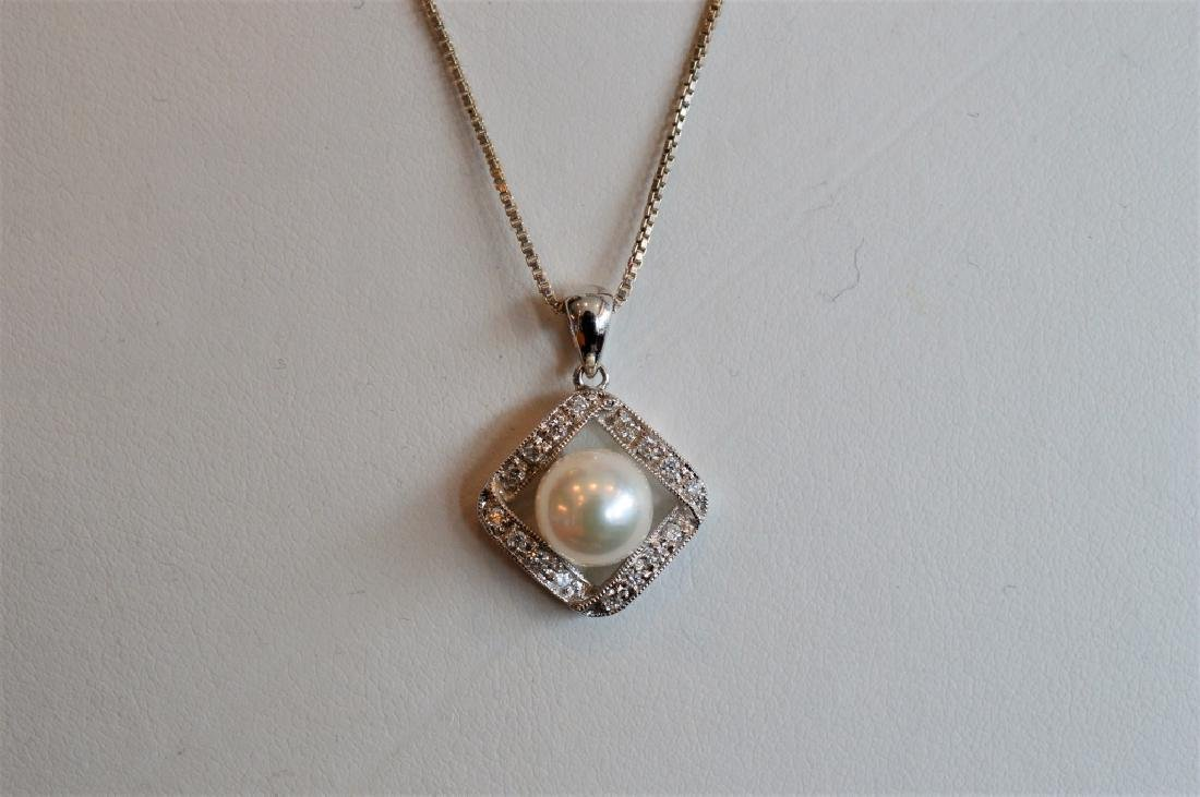 "18"" Sterling Silver & Akoya Pearl Drop Necklace"