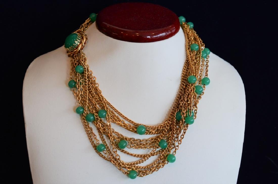 Multi-Strand Necklace with Green Beads