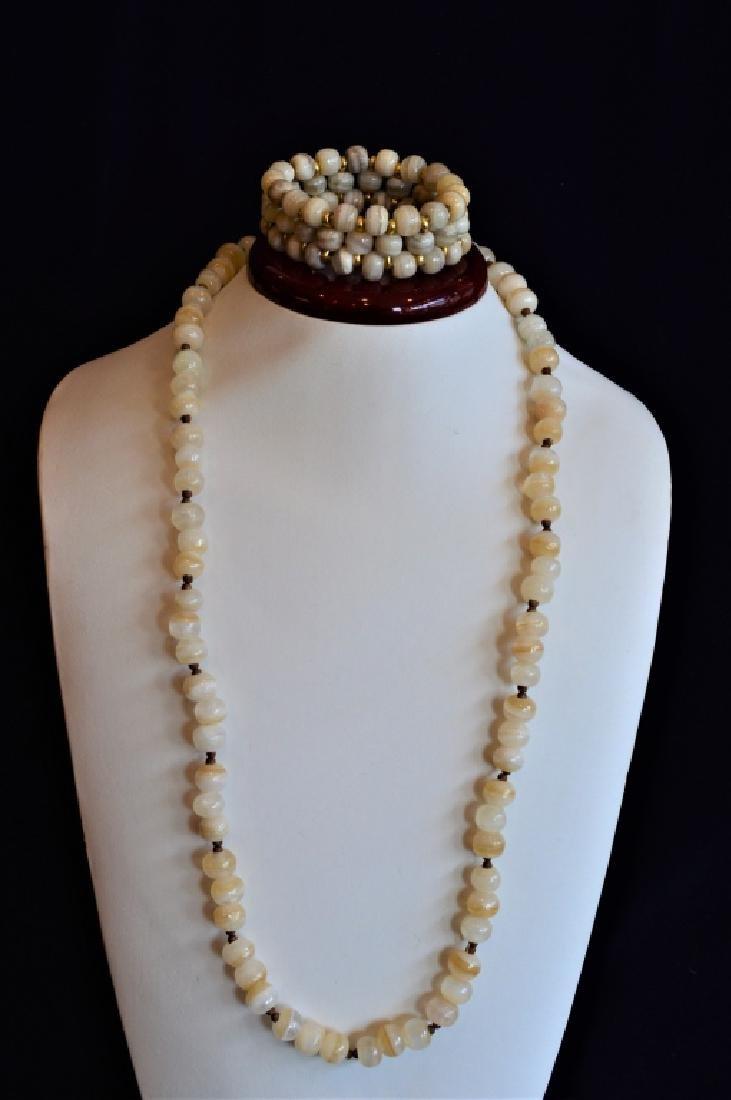 Slip on Glass Bead Necklace w Matching Bracelet