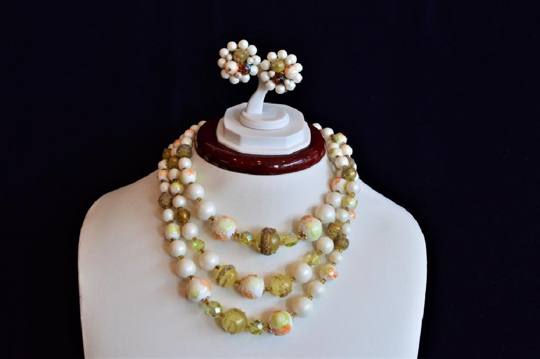 Vintage 3 Strand Necklace w Matching Earrings