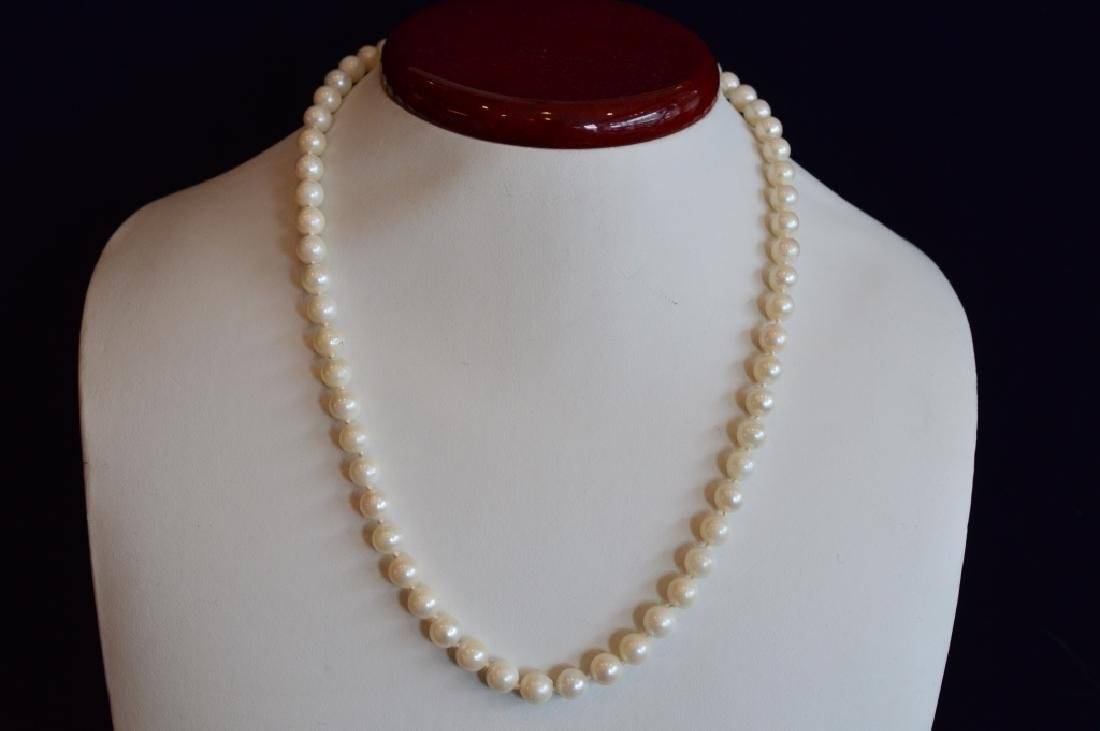 White Pearl Necklace with 14k Yellow Gold Clasp