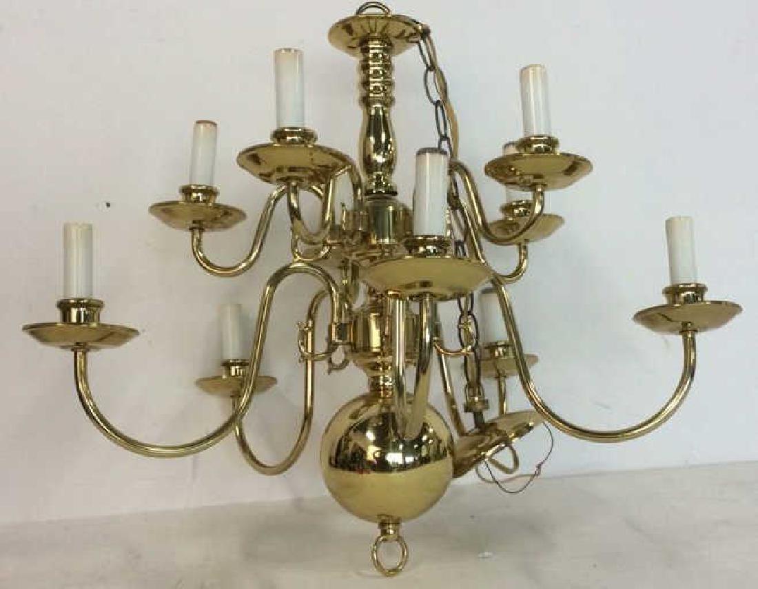 Ten Arm Vintage Brass Chandelier