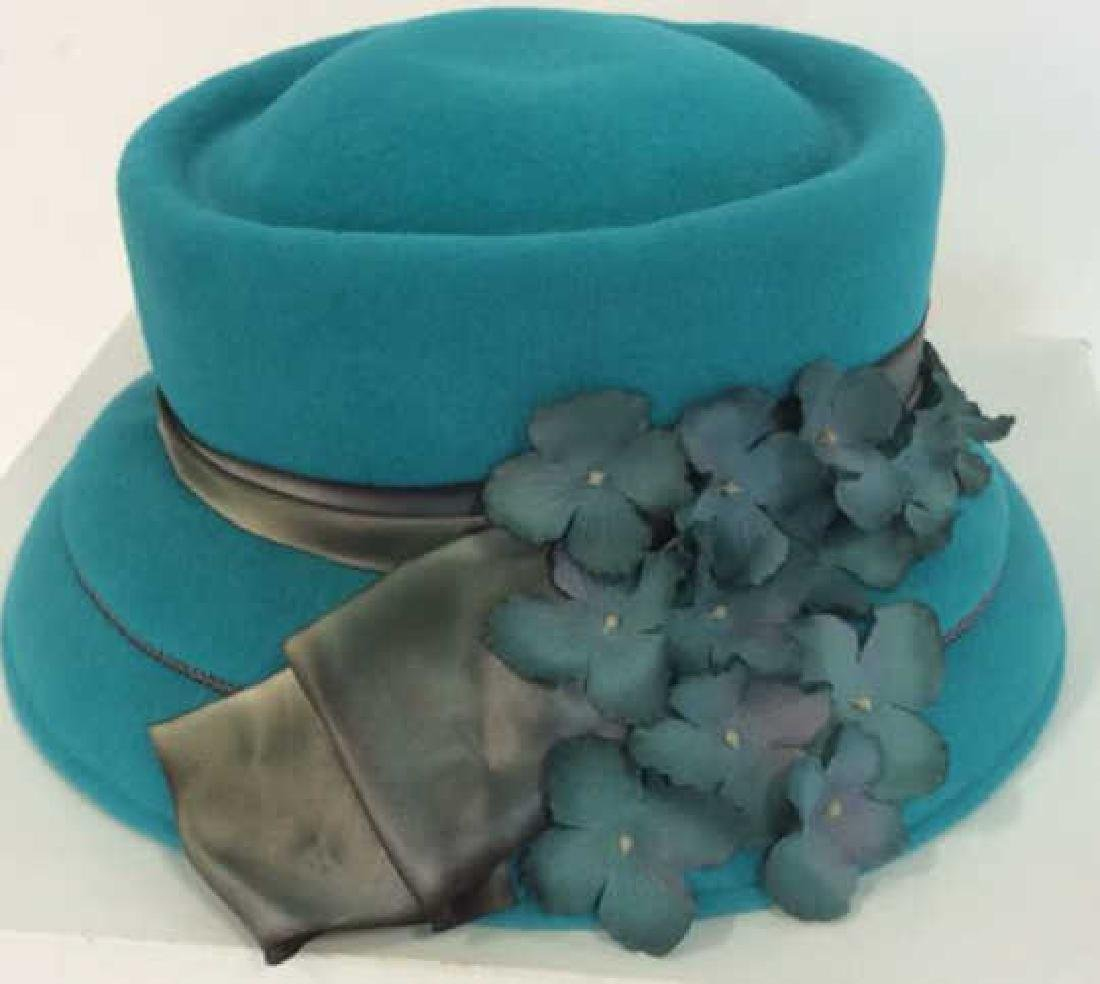 Ladies Fashion Teal Felt Hat with Ribbon