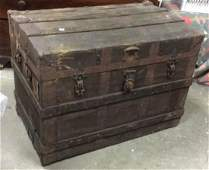 Antique Wood And Metal Chest Trunk