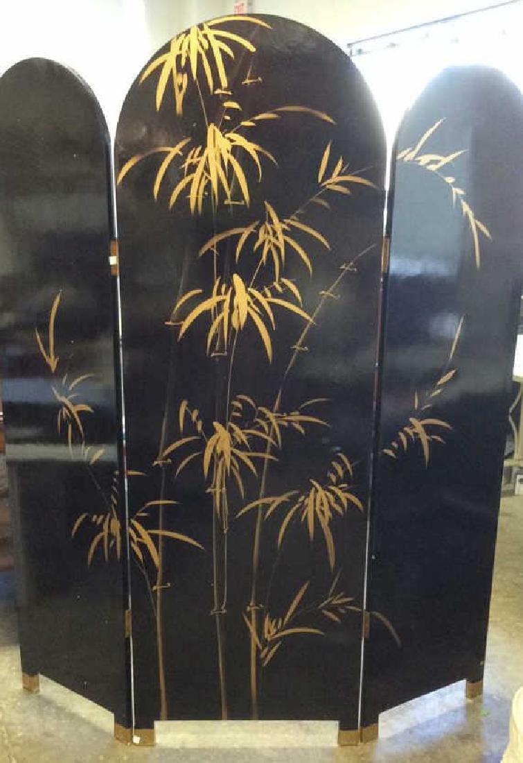 Three Panel Painted Wood Asian Screen