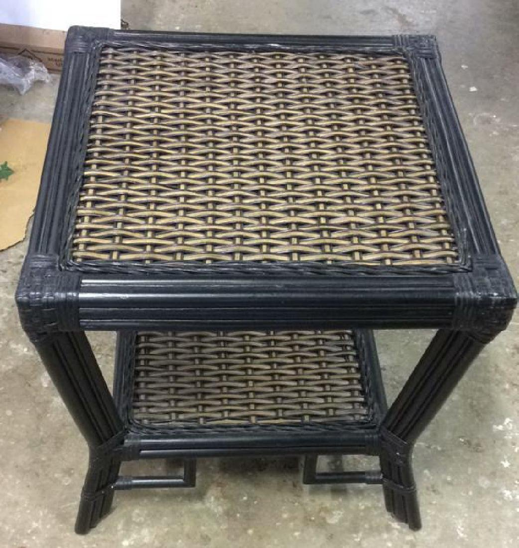 2 Tiered Black Asian Style Bamboo Table