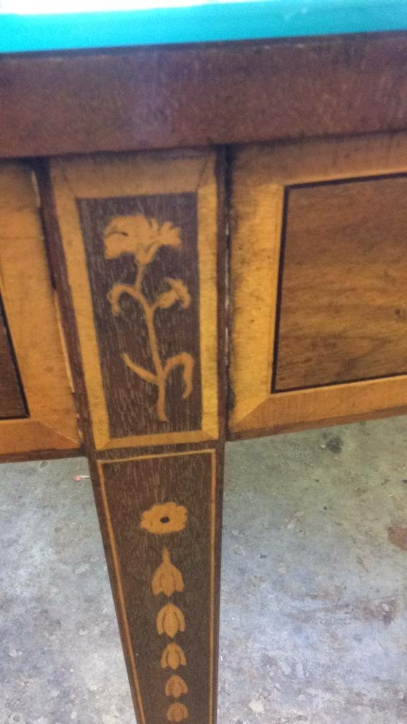 Marquetry Inlay Wood Demilune Console Table