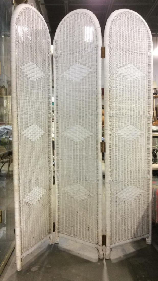 Vintage White Toned 3 Panel Wicker Screen