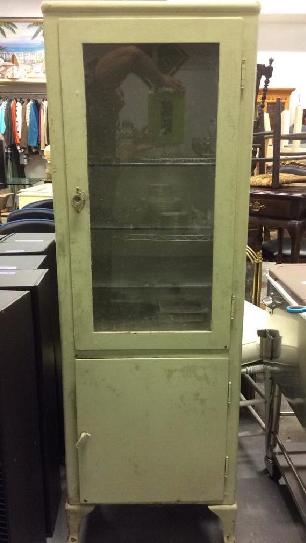 Vintage Metal Medical Cabinet W Wheels