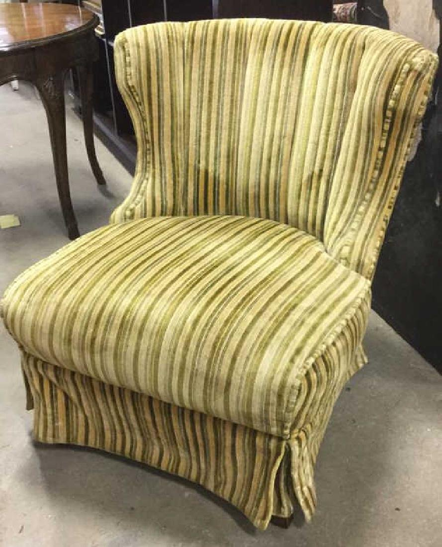 Curved and Channel Back Upholstered Slipper Chair