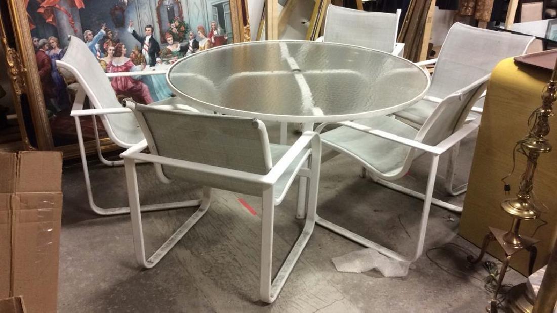 Lot 6 Outdoor Table & Chairs, Brown Jordan FUrnitu
