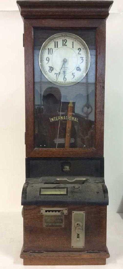 Antique Mechanical Time Clock Label International