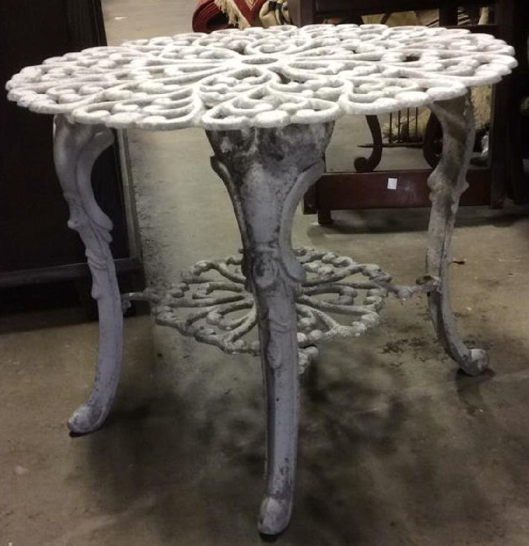 White Toned Outdoor Metal Iron Scrolled Table