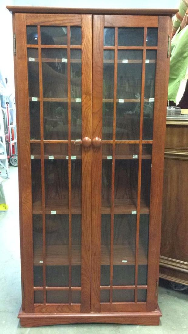Wood and Glass Display Case Cabinet