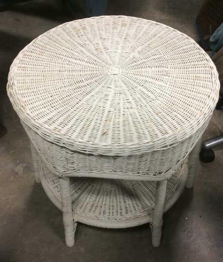 Vintage White Toned Woven Wicker Side Table