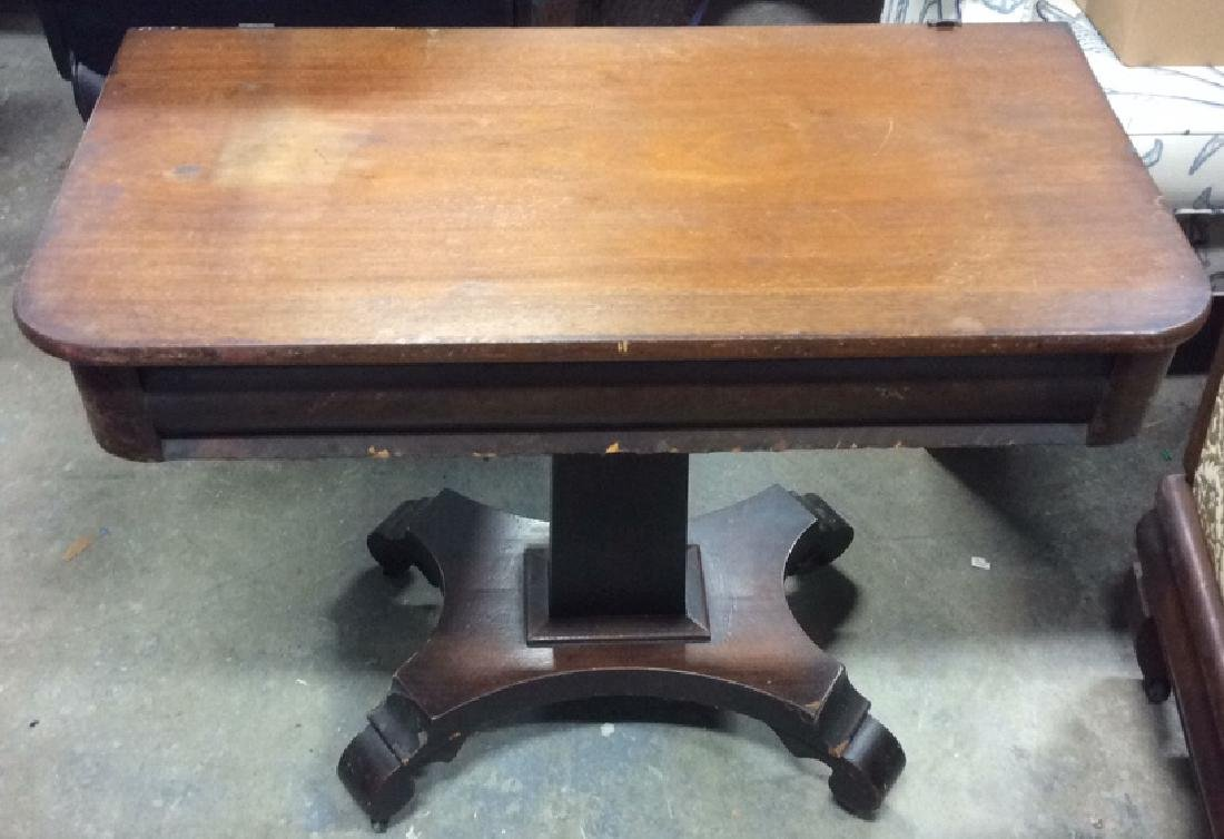 Antique Empire WoodSwivel Top Table On Casters