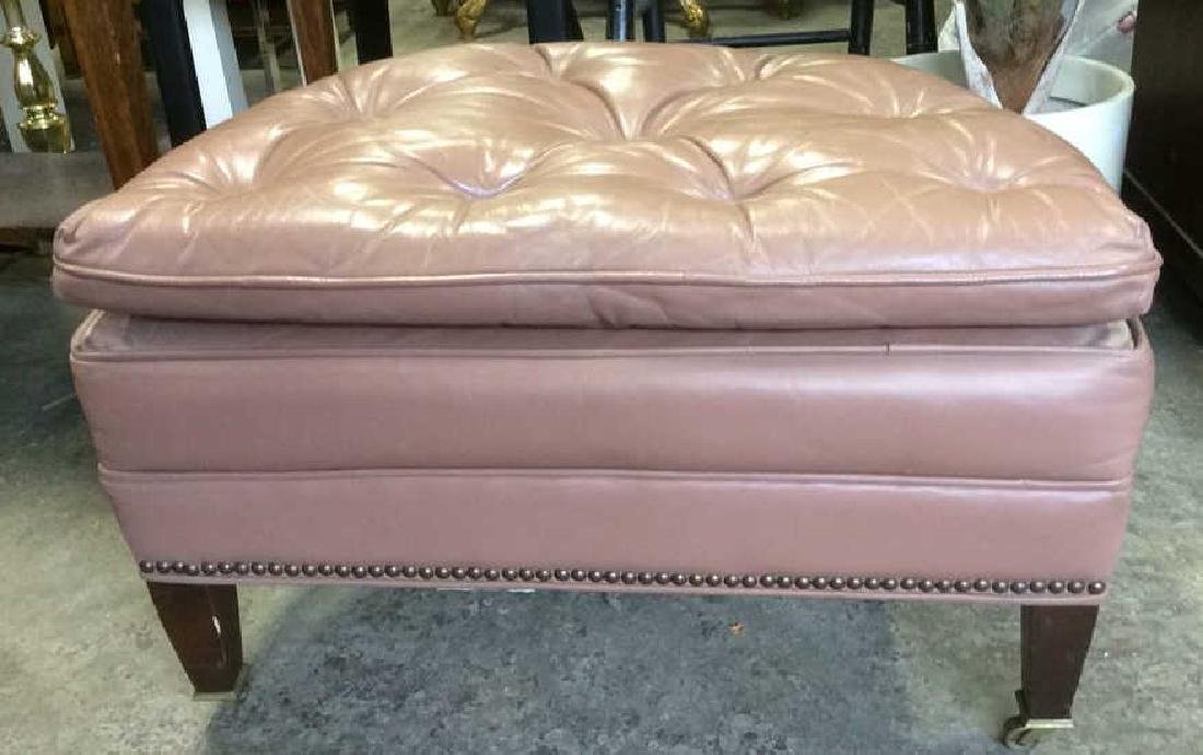 Mauve Pink Toned Tufted ETHAN ALLEN Ottoman