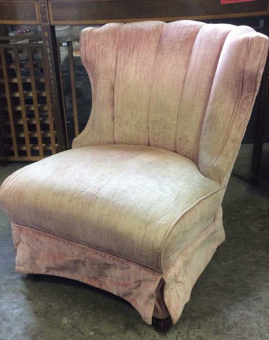 Pink Toned Skirted Wing Chair