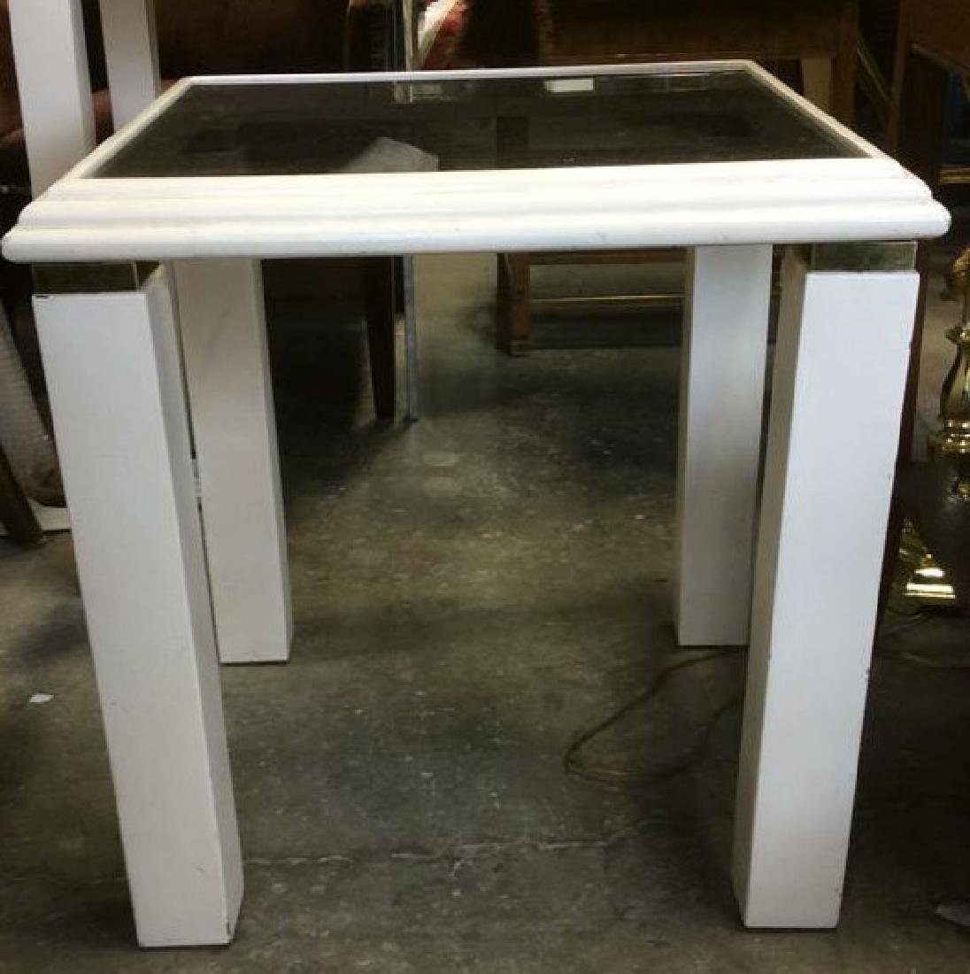 Wooden Frame Glass Top Side Table