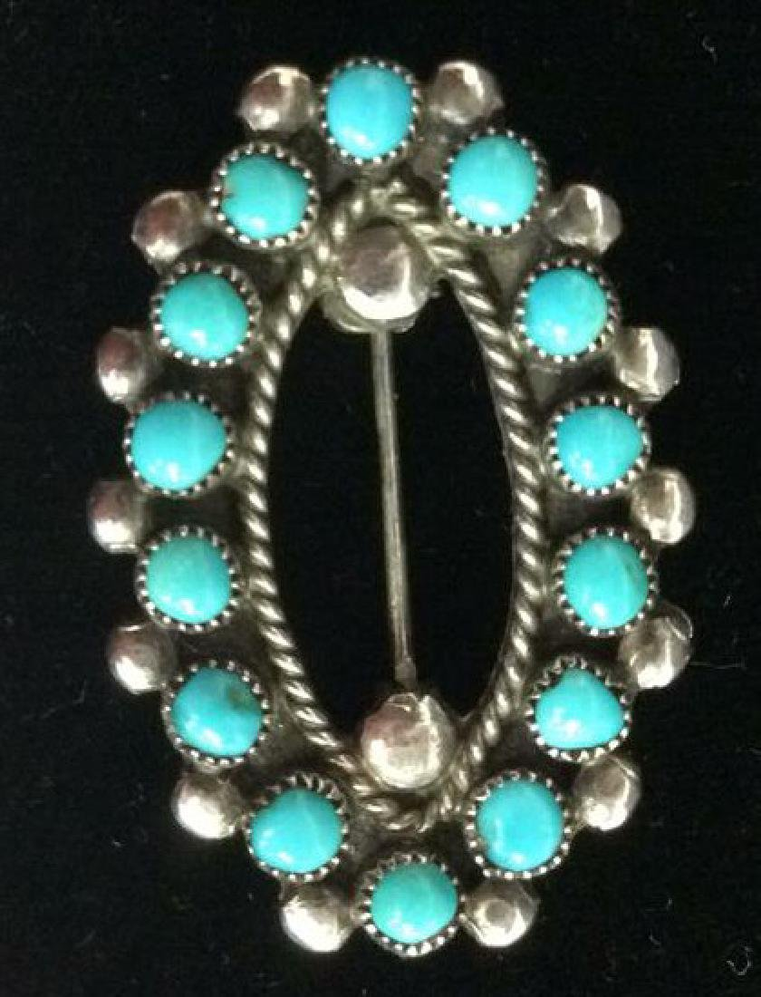 Vintage Navajo Sterling Turquoise Brooch Pin