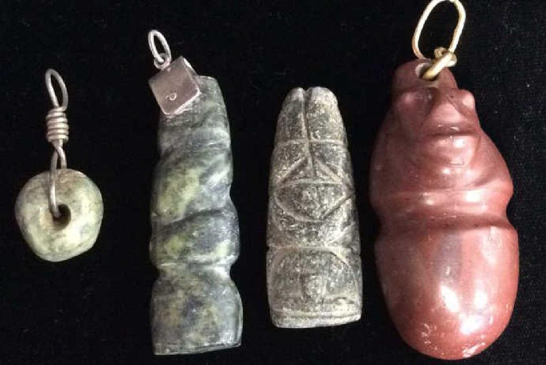 Lot 4 Carved Bead Pendants Pre-Columbian Style