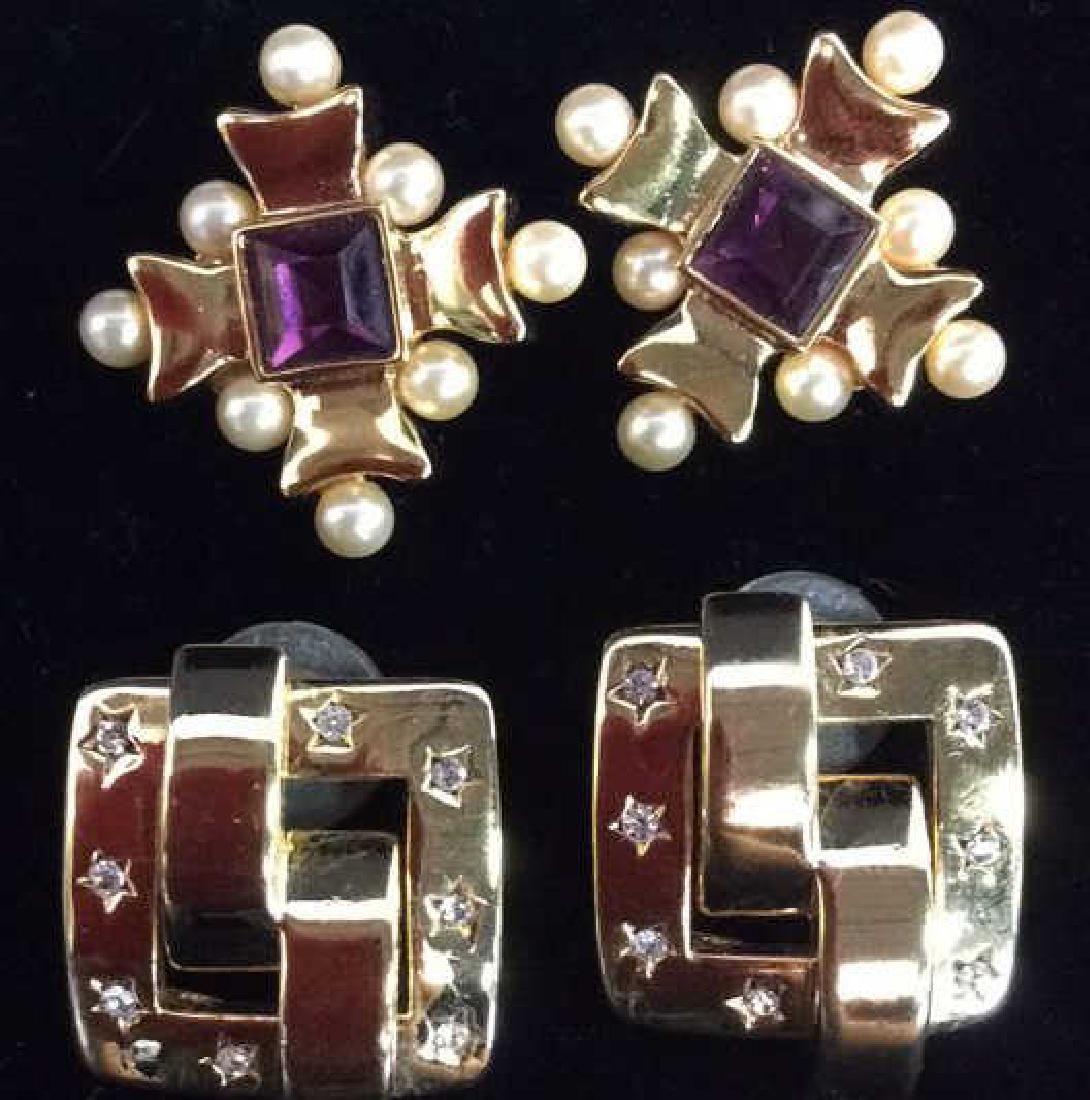 Lot 2 Gold Toned Vintage Designer Earrings