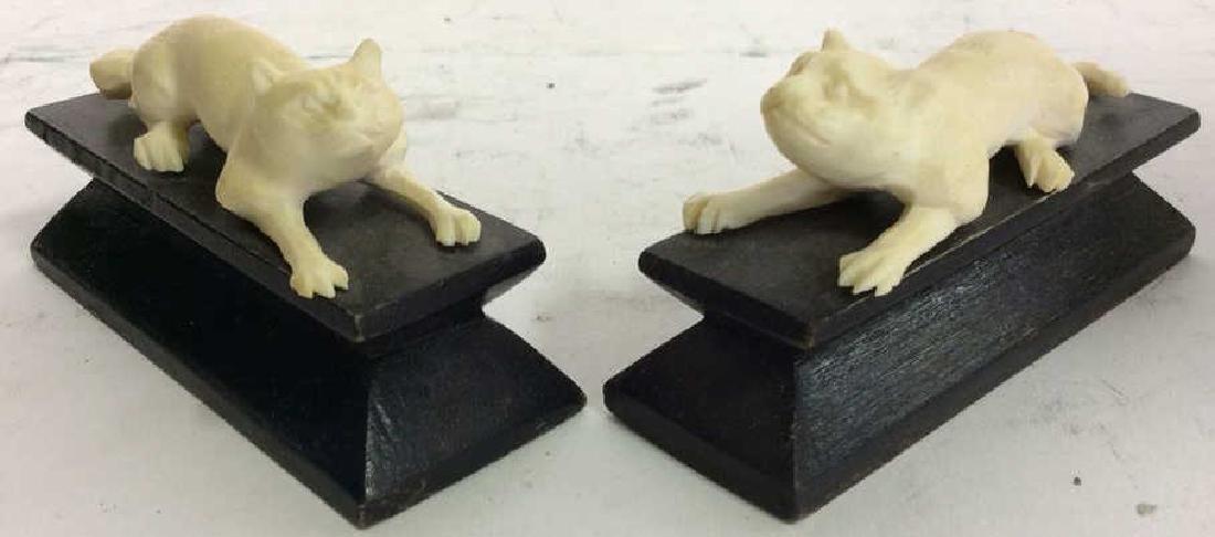 Lot 2 Carved Bone Feline Figurals