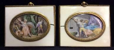 Antique Set Carved Bone Framed Porcelain artwork