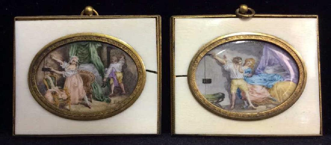 Antique Set Carved Bone Framed Porcelain artwork