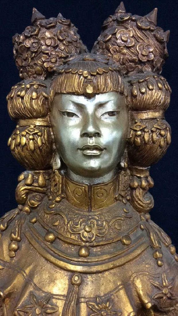 Gold Toned Painted Oriental Female Statue