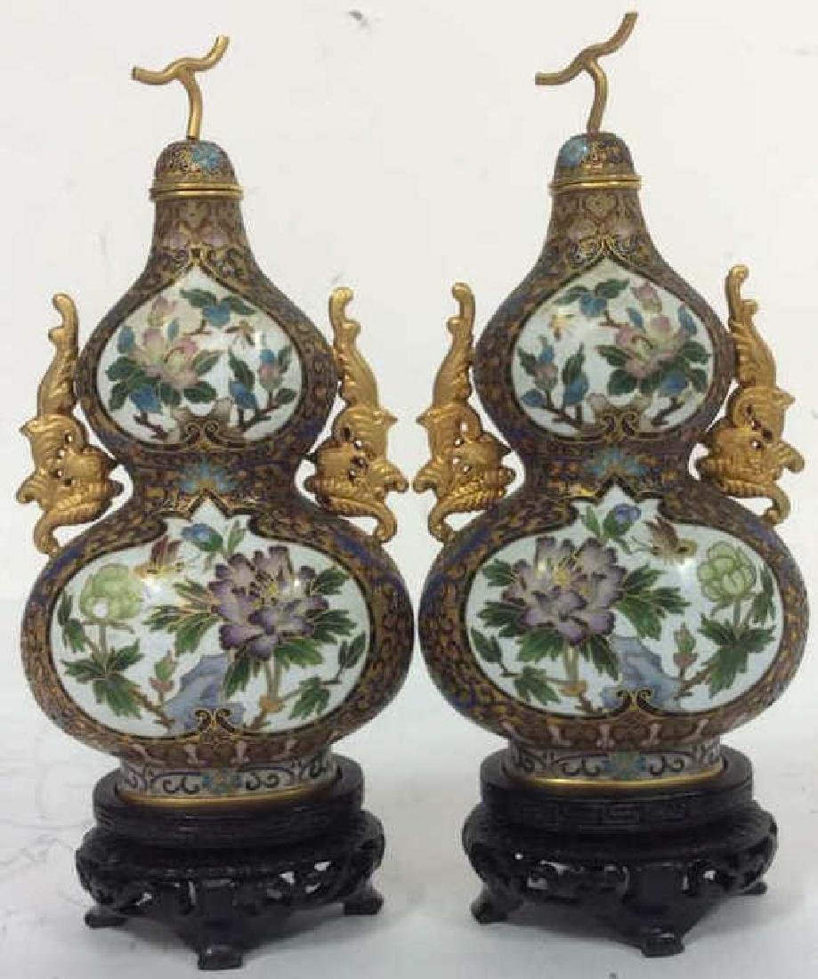 Pair Asian painted Lidded Vases W Stands