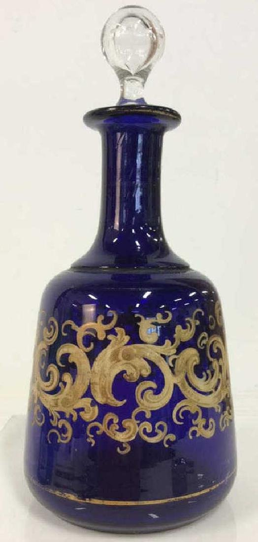 Painted Cobalt Blue Glass Decanter