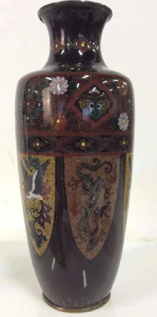 Asian Style Enamel Cloisonné Vase w Dragon