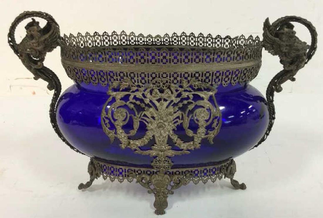 Silver Plated Overlay Cobalt Glass Centerpiece