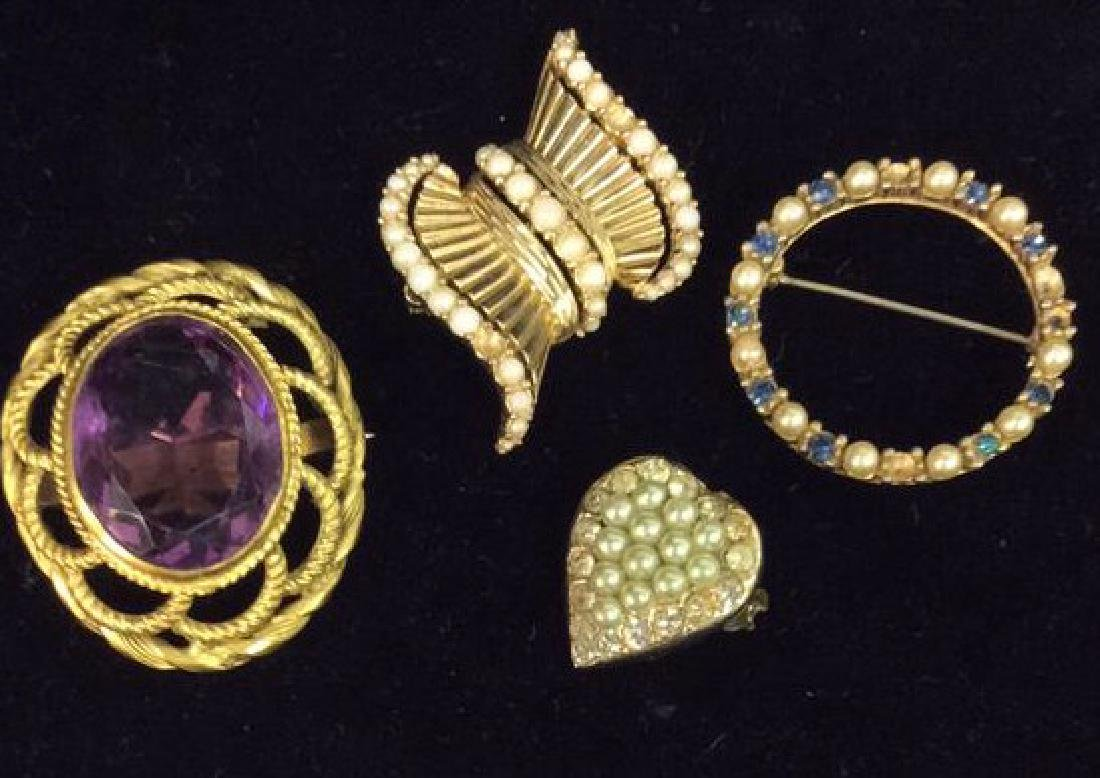 Lot 4 Estate Costume Jewelry Brooch Pins