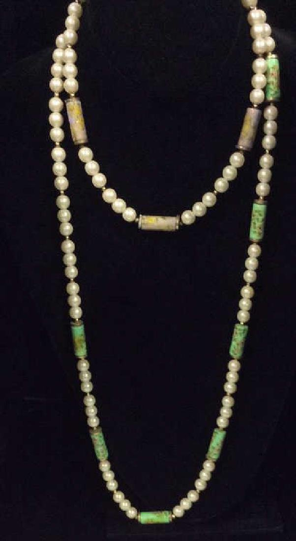 Pair Faux Pearl Necklaces Estate Jewelry