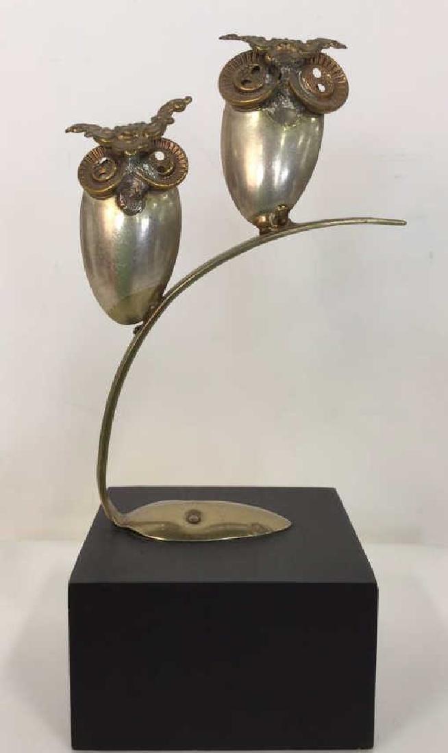 Mixed Media Owl Spoon Art Sculpture