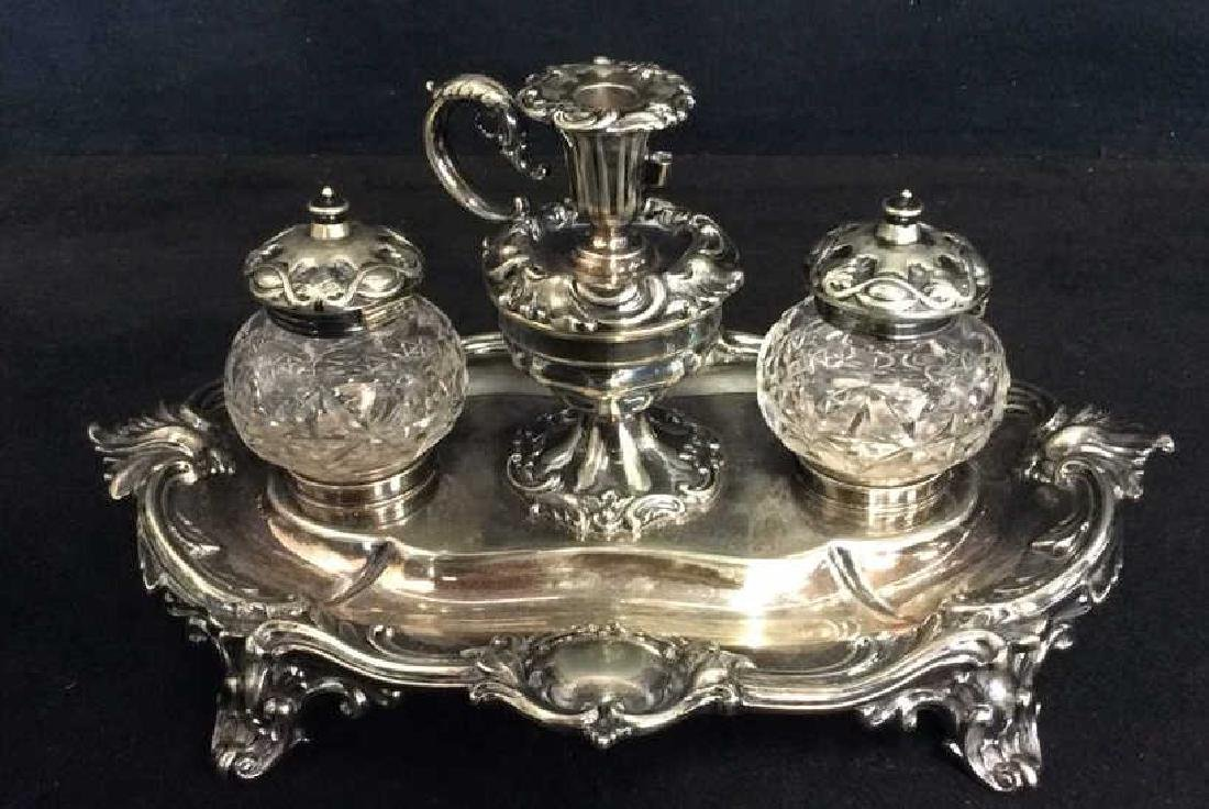 Ornate Vintage Silver Plated Inkwell Set