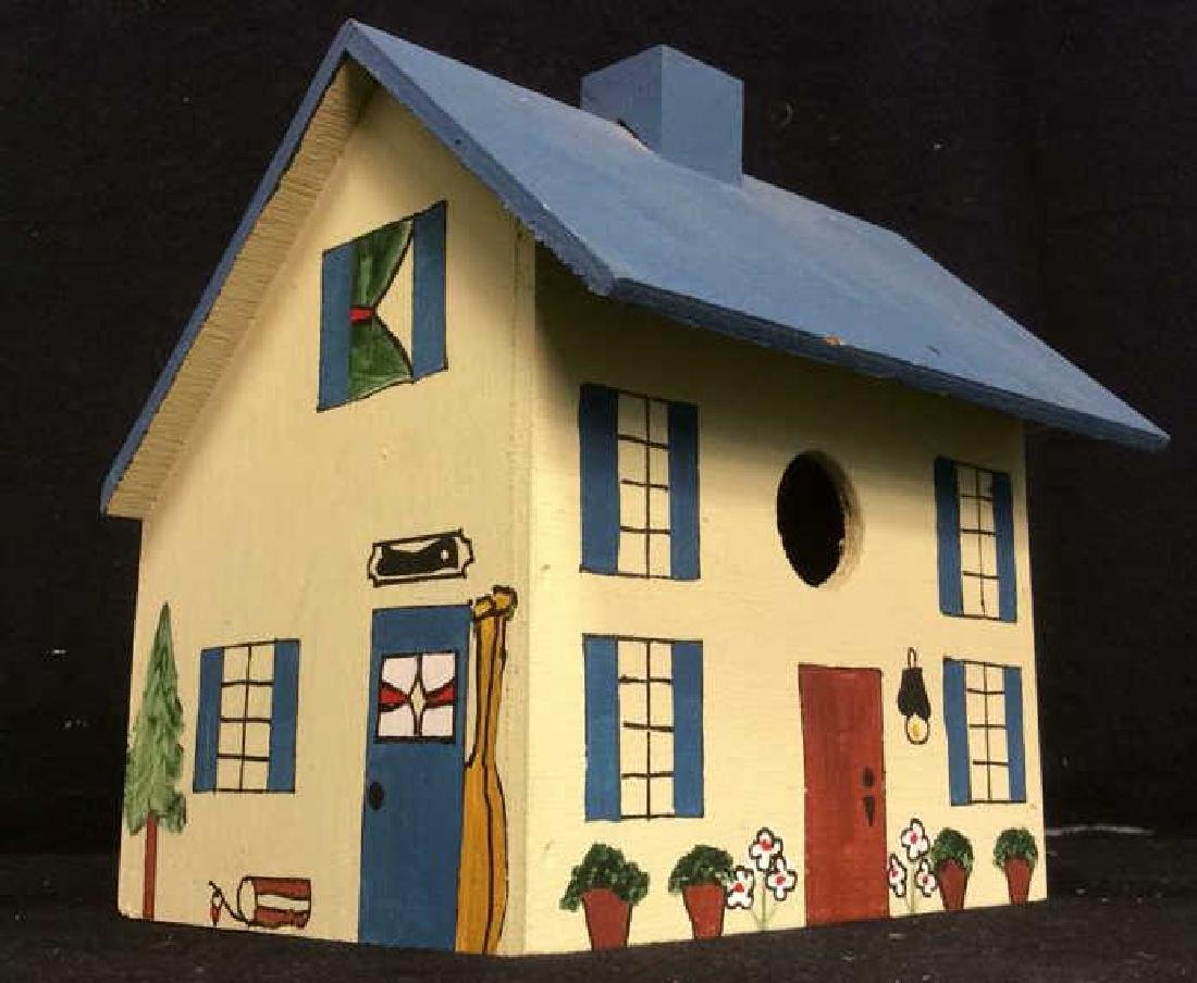 Vintage Hand Painted Wooden Birdhouse,Signed