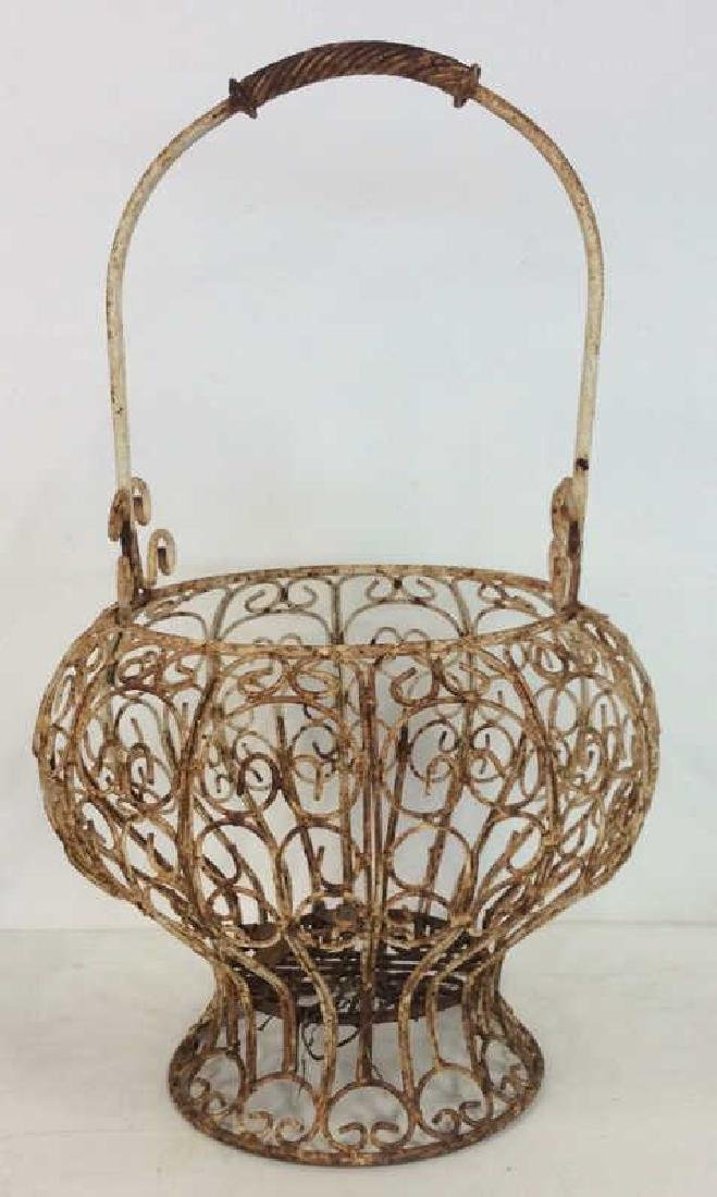 Antique Iron and Metal Curly Footed Basket