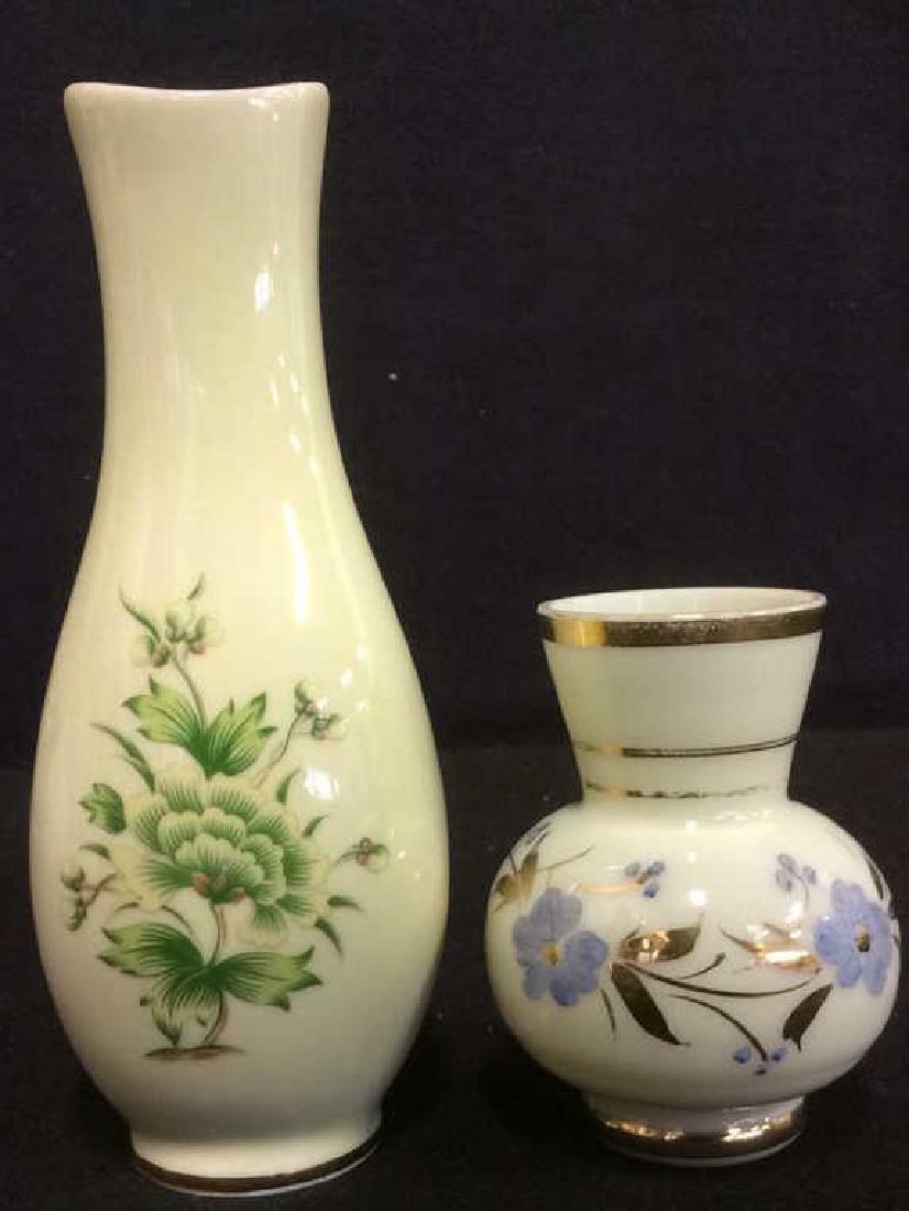 Lot 2 Floral Detailed VIntage Vases Marked