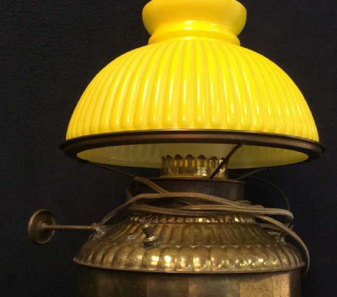 Vintage Yellow Glass Brass  Lamp